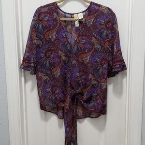 Deep purple paisley blouse